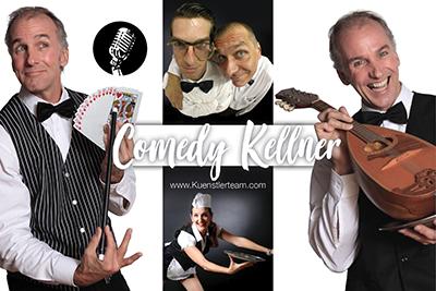 lustige, falsche Comedy-Kellner, auch als singende Comedy-Kellner, zaubernde Spass-Kellner oder zeichnende Spasskellner